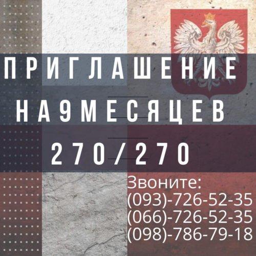 Приглашение на 9 месяцев в Польшу