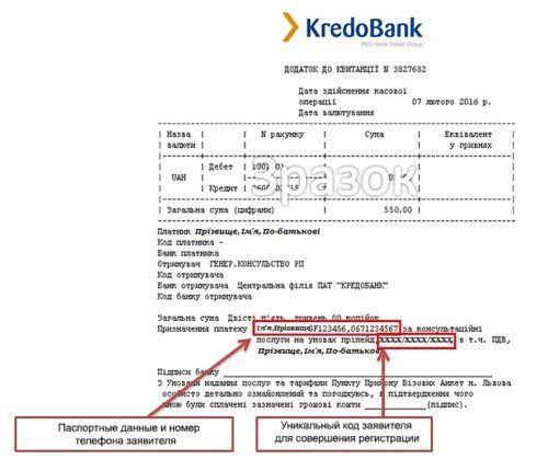Документи для робочої візи в Польщу Квитанція про оплату сервісного збору.