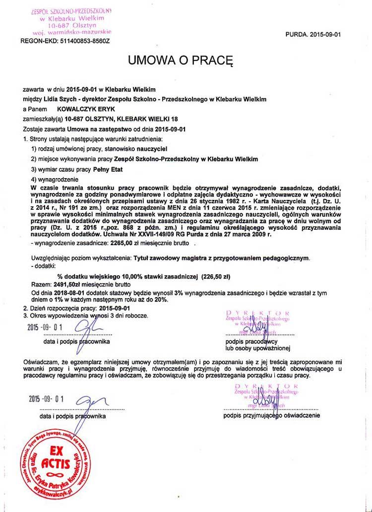 Умова о праце (Umowa o pracę)