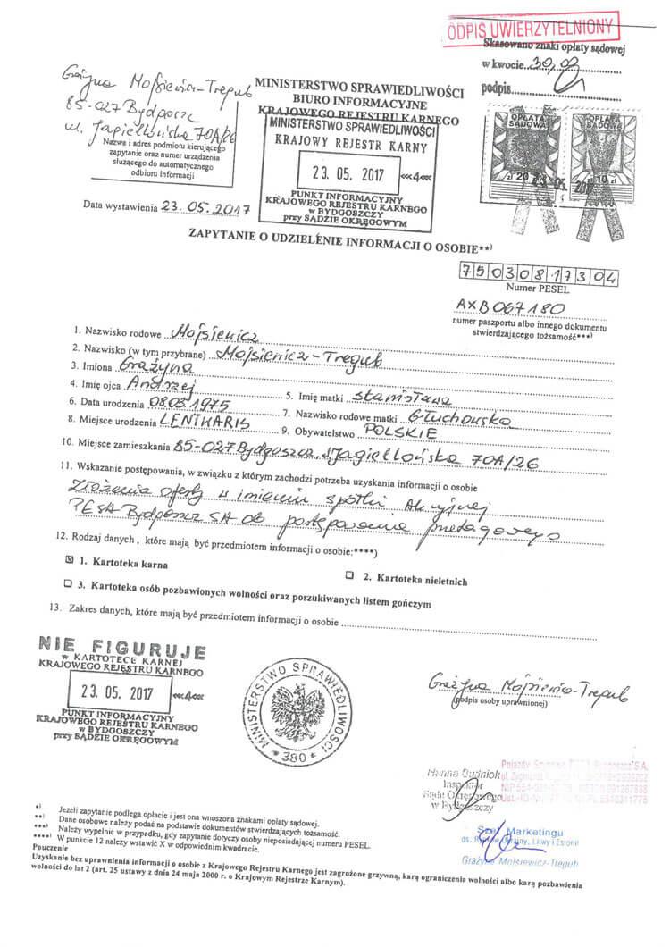 Справка о несудимости в Польше